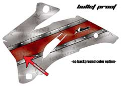 <b>Bullet Proof</b><br />Only the design color can be changed in this design. This sample image shows: Design Color = Red, Background Color = NA