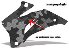 <b>Camoplate</b><br />Only the design color can be changed in this design. Several shades of selected design color will be displayed in the Camo pattern. This sample image shows: Design Color = Black, Background Color = NA