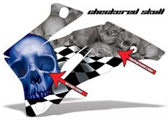 <b>Checkered Skull</b><br />Design Color selection determines the color of the large Skull Head. Background Color determines the color of the skull pattern in the background. This sample image shows: Design Color = Blue, Background Color = Silver