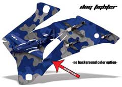 <b>Dog Fighter</b><br />No options for Background color. Several shades of selected design color will be displayed in the Camo pattern and Planes. This sample image shows: Design Color = Blue, Background Color = NA