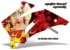 <b>Motorhead Mandy</b><br />Background color can be changed in this design. No options for design color. Background Color determines the color of Gears and Mandy's Top. Mandy's Hair or Eye Color CAN'T be change. This sample image shows: Design Color = NA, Background Color = Red