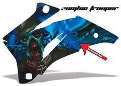 <b>Zombie Trooper</b><br />Design color can be changed in this design. No options for Background color. This sample image shows: Design Color = Blue, Background Color = NA