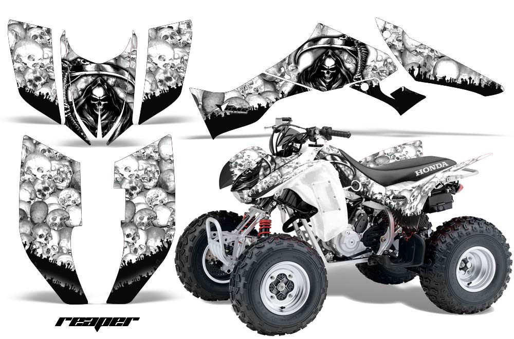 Honda TRX 300EX ATV Graphics: Reaper - White Quad Graphic Decal Wrap Kit