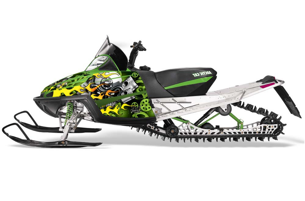 Arctic Cat M Series Crossfire Sled Graphics: Motorhead - Green Snowmobile Graphic Decal Wrap Kit