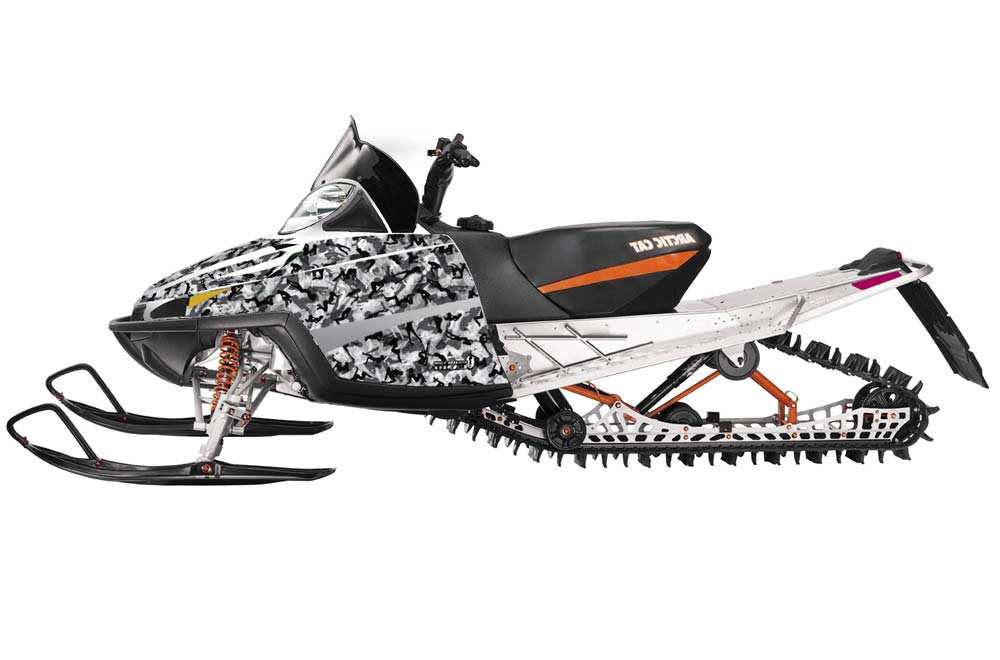 Arctic Cat M Series Crossfire Sled Graphics: Urban Camo - White Snowmobile Graphic Decal Wrap Kit