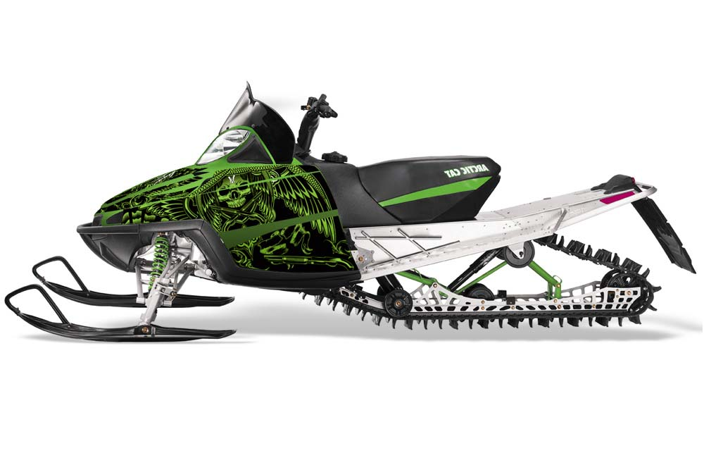Arctic Cat M Series Crossfire Sled Graphics: Huntington Ink Skulls - Green Snowmobile Graphic Decal Wrap Kit