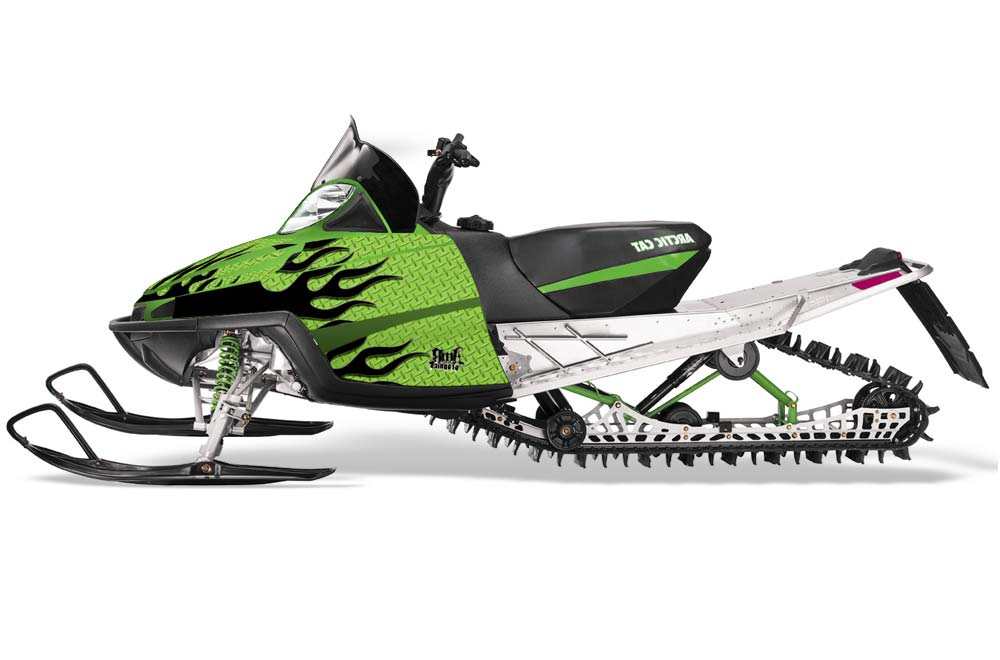 Arctic Cat M Series Crossfire Sled Graphics: Diamond Flames - Green Snowmobile Graphic Decal Wrap Kit