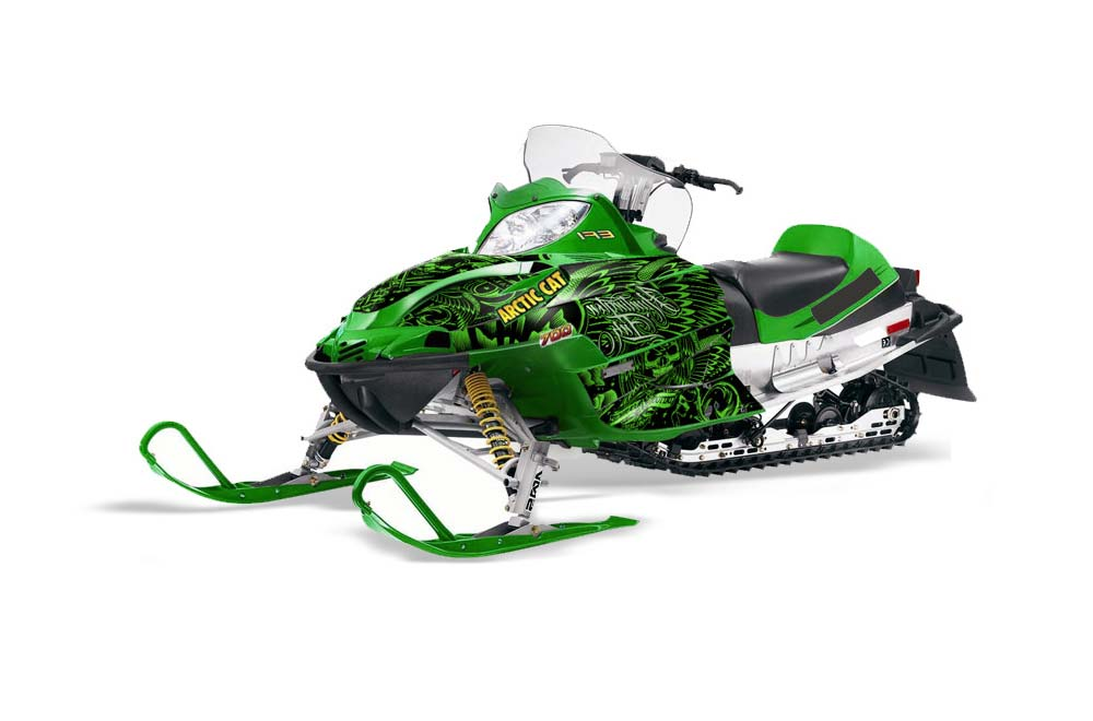 Arctic Cat Firecat F5,F6,F7 Sled Graphics: Huntington Ink Skulls - Green Snowmobile Graphic Decal Wrap Kit
