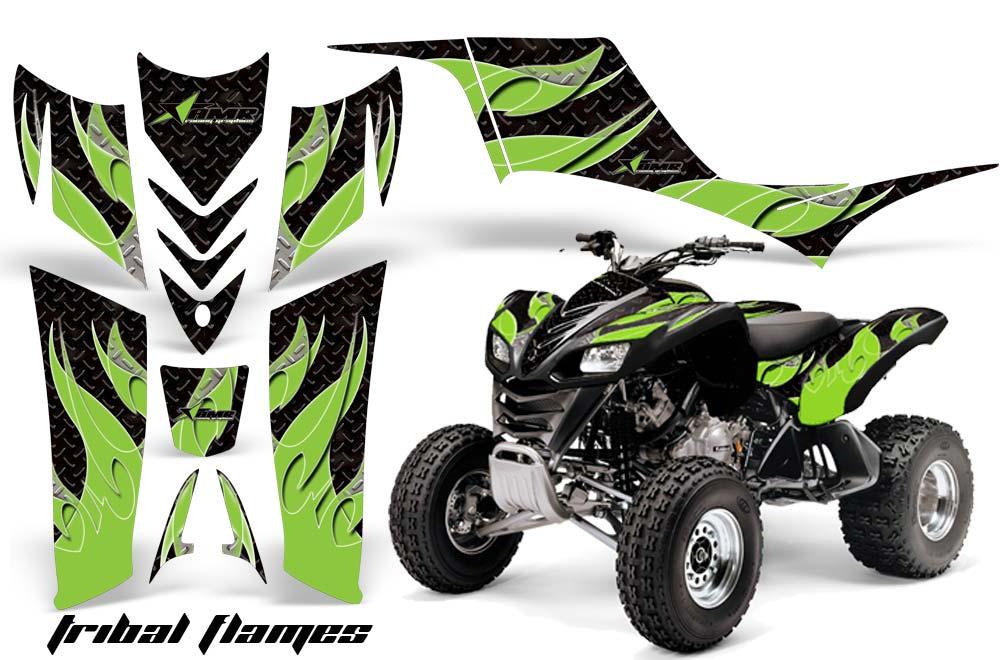 Kawasaki KFX 700 ATV Graphics: Tribal Flames- Green Black Quad Graphic Decal Wrap Kit
