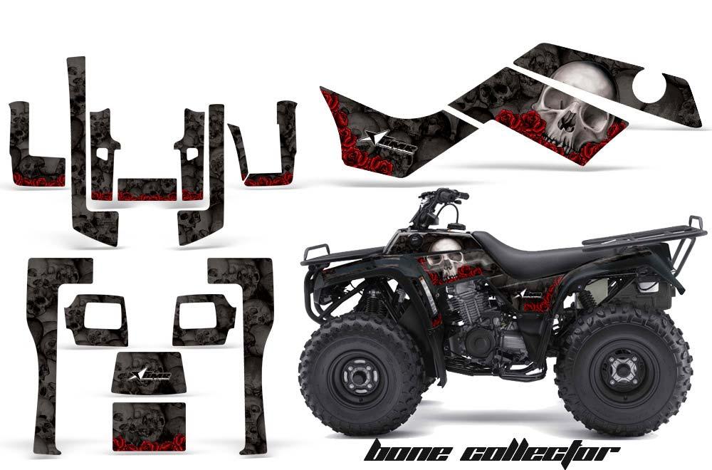 Kawasaki Bayou 220 250 300 ATV Graphics: Bone Collector - Black Quad Graphic Decal Wrap Kit