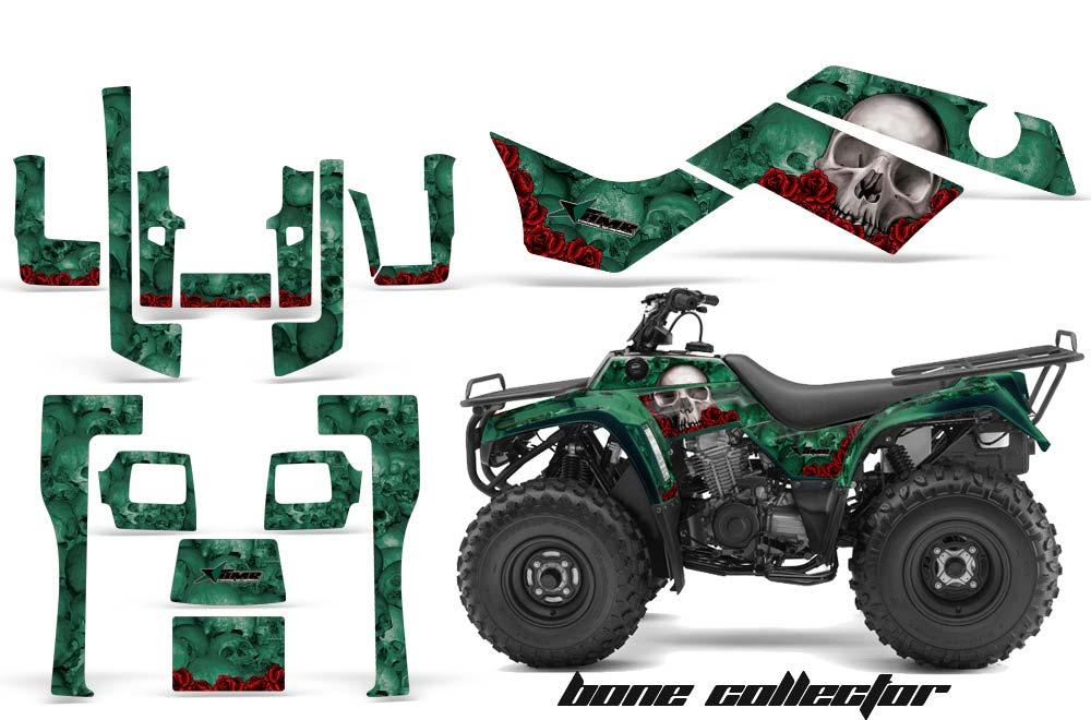 Kawasaki Bayou 220 250 300 ATV Graphics: Bone Collector - Green Quad Graphic Decal Wrap Kit