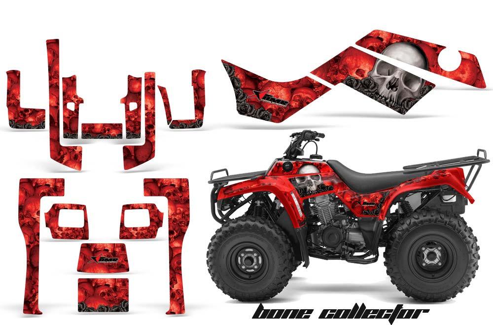 Kawasaki Bayou 220 250 300 ATV Graphics: Bone Collector - Red Quad Graphic Decal Wrap Kit