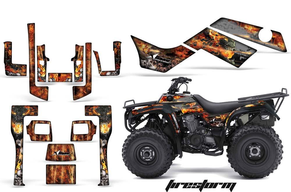 Kawasaki Bayou 220 250 300 ATV Graphics: Firestorm - Black Quad Graphic Decal Wrap Kit