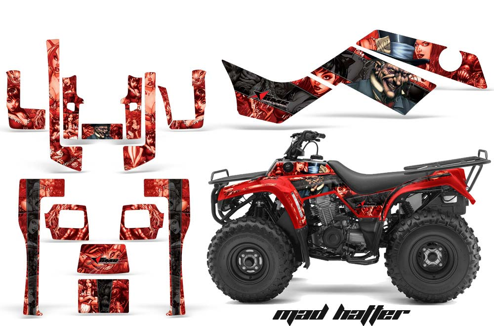 Kawasaki Bayou 220 250 300 ATV Graphics: Madhatter - Black Red Quad Graphic Decal Wrap Kit