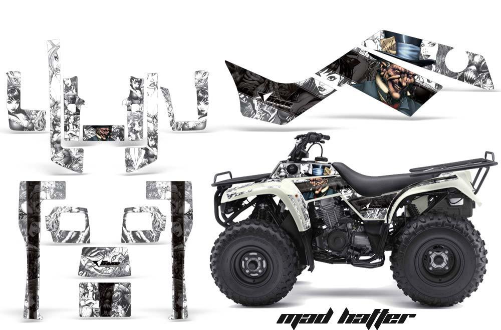 Kawasaki Bayou 220 250 300 ATV Graphics: Madhatter - Black White Quad Graphic Decal Wrap Kit