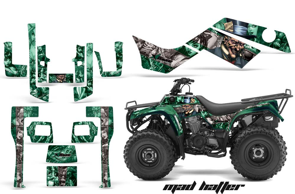 Kawasaki Bayou 220 250 300 ATV Graphics: Madhatter - Silver Green Quad Graphic Decal Wrap Kit