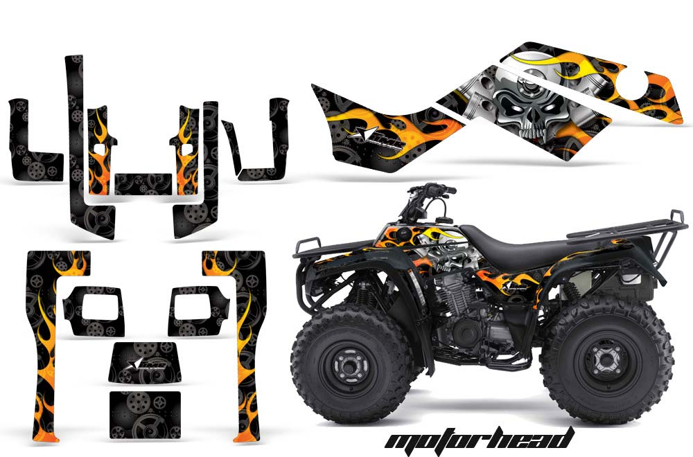 Kawasaki Bayou 220 250 300 ATV Graphics: Motorhead - Black Quad Graphic Decal Wrap Kit