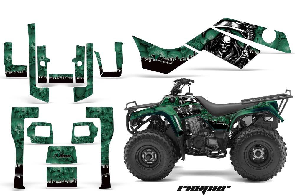 Kawasaki Bayou 220 250 300 ATV Graphics: Reaper - Green Quad Graphic Decal Wrap Kit