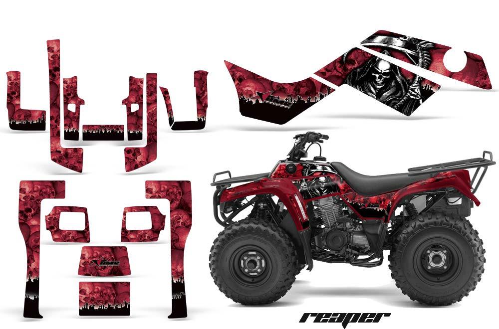 Kawasaki Bayou 220 250 300 ATV Graphics: Reaper - Red Quad Graphic Decal Wrap Kit