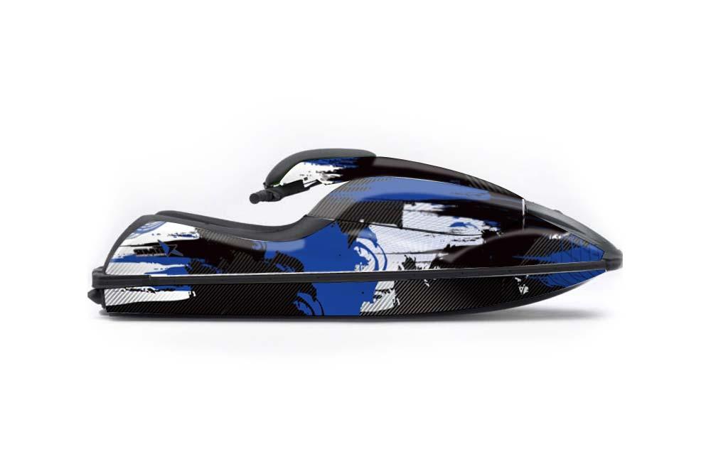 Kawasaki 750 SX SXR Graphics: Carbon X - Blue Jet Ski PWC Graphic Decal Wrap Kit