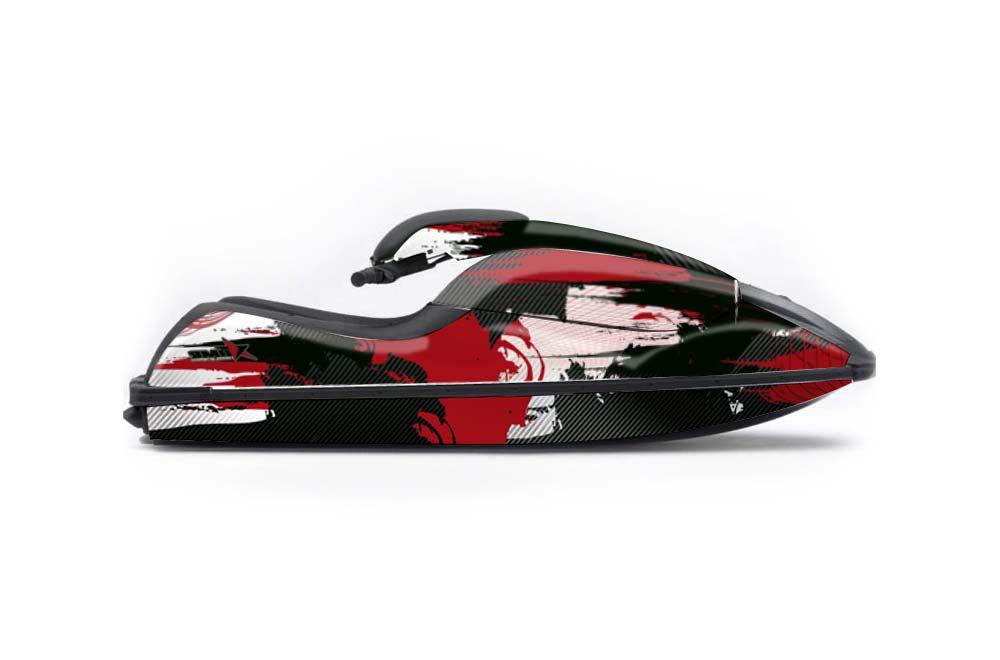Kawasaki 750 SX SXR Graphics: Carbon X - Red Jet Ski PWC Graphic Decal Wrap Kit