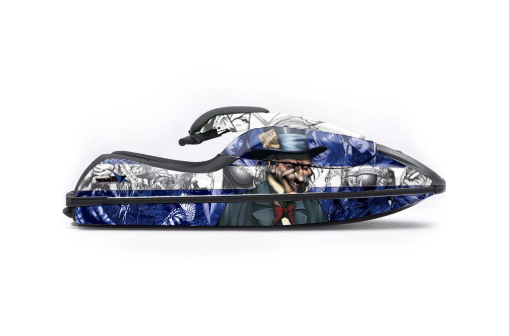 Kawasaki 750 SX SXR Graphics: Mad Hatter - Blue Jet Ski PWC Graphic Decal Wrap Kit