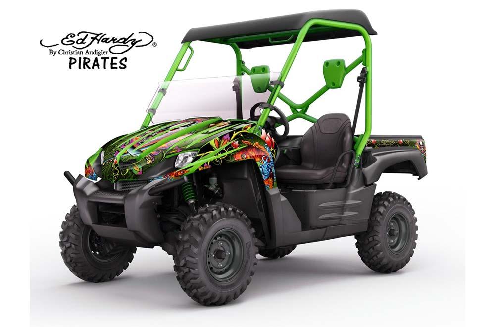 Kawasaki Teryx 750 UTV Graphics (2007-2009) Ed Hardy Pirates - Green Side  by Side Graphic Decal Wrap Kit