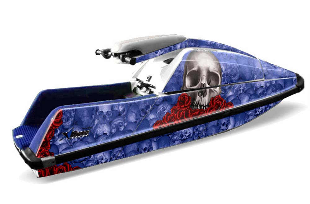 Yamaha Superjet Square Nose Graphics: Bone Collector - Blue Jet Ski PWC Graphic Decal Wrap Kit