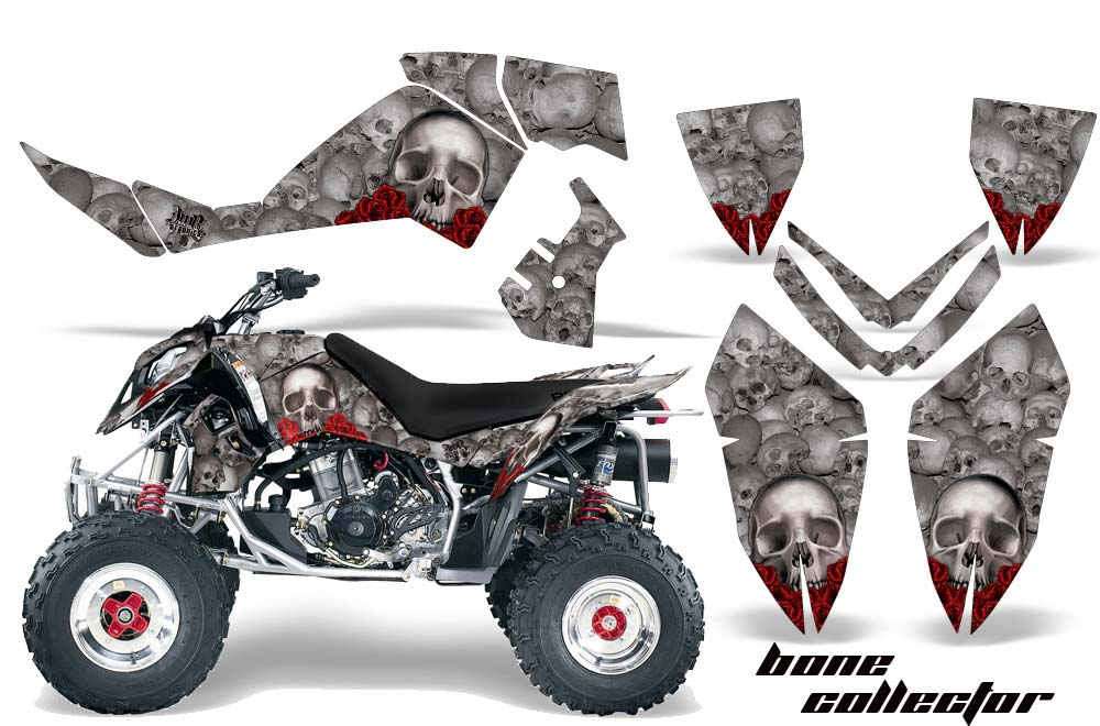 Polaris Outlaw 450,500,525 ATV Graphics: Bone Collector - Silver Quad Graphic Decal Wrap Kit