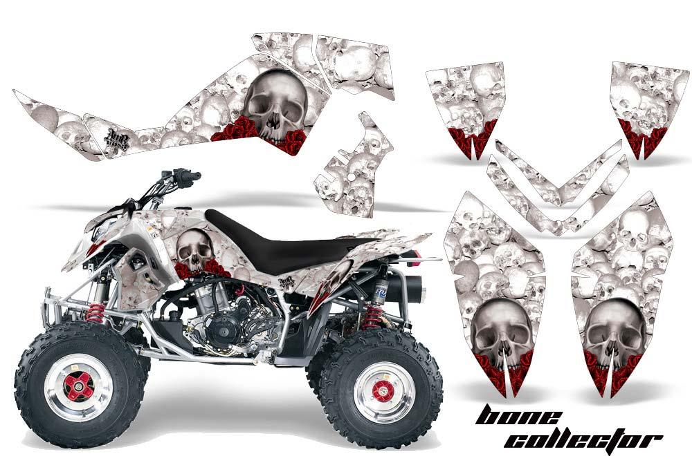 Polaris Outlaw 450,500,525 ATV Graphics: Bone Collector - White Quad Graphic Decal Wrap Kit