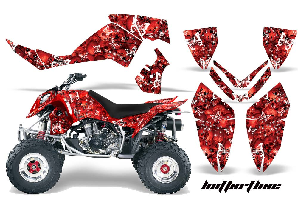 Polaris Outlaw 450,500,525 ATV Graphics: Butterflies - Red Quad Graphic Decal Wrap Kit