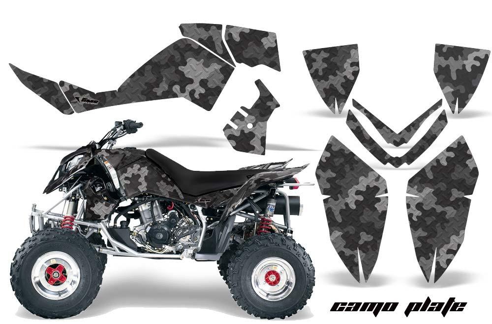 Polaris Outlaw 450,500,525 ATV Graphics: Camoplate - Black Quad Graphic Decal Wrap Kit