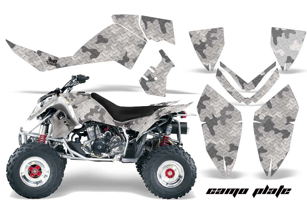 Polaris Outlaw 450,500,525 ATV Graphics: Camoplate - White Quad Graphic Decal Wrap Kit