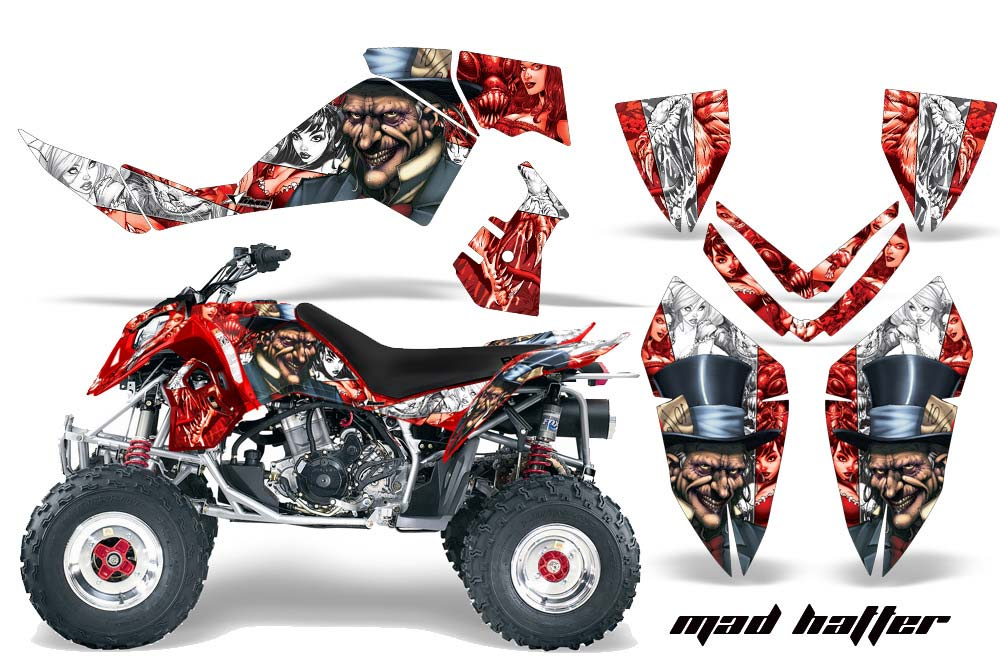 Polaris Outlaw 450,500,525 ATV Graphics: Madhatter - White Red Quad Graphic Decal Wrap Kit