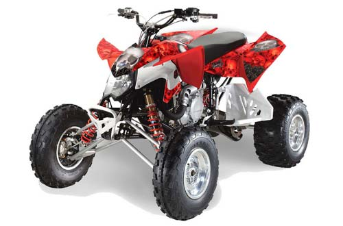 Polaris Outlaw 450,500,525 ATV Graphics: Bone Collector - Red ATV Quad Graphic Decal Wrap Kit