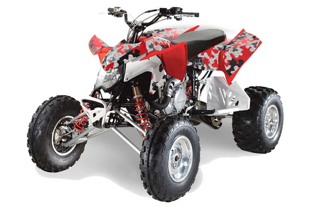 Polaris Outlaw 450,500,525 ATV Graphics: Camo Plate - Red ATV Quad Graphic Decal Wrap Kit