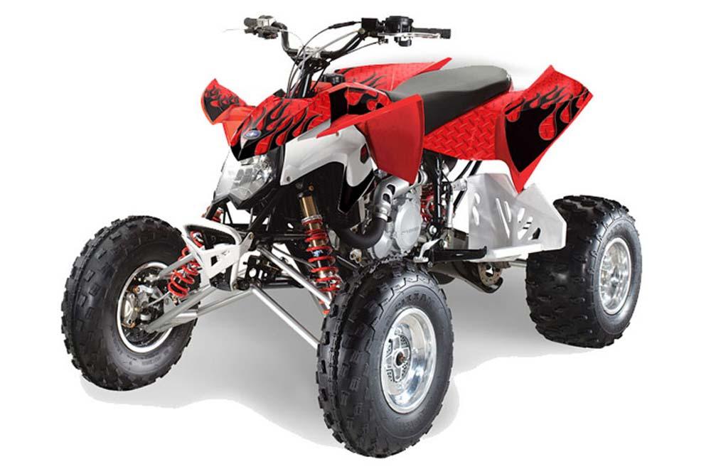 Polaris Outlaw 450,500,525 ATV Graphics: Diamond Flames - Red ATV Quad Graphic Decal Wrap Kit