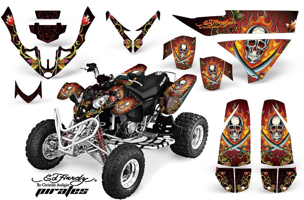 Polaris Predator 500 ATV Graphics: Ed Hardy Pirates - Red Quad Graphic Decal Wrap Kit