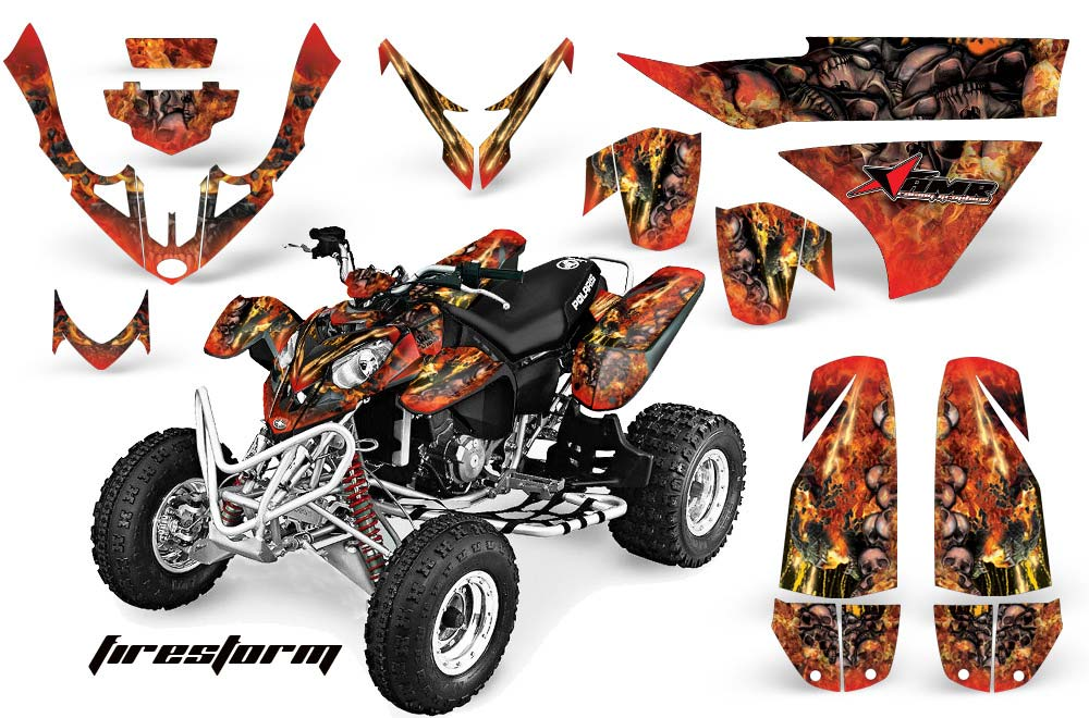 Polaris Predator 500 ATV Graphics: Firestorm - Red Quad Graphic Decal Wrap Kit