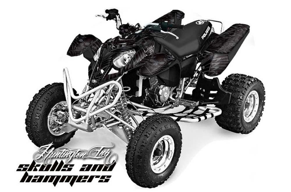 Polaris Predator 500 ATV Graphics: Huntington Ink - Silver Quad Graphic Decal Wrap Kit