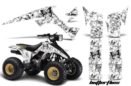 Suzuki LT 230 ATV Graphics: Butterflies - White Quad Graphic Decal Wrap Kit