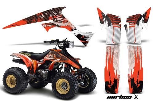 Suzuki LT 230 ATV Graphics: Carbon X  - Orange Quad Graphic Decal Wrap Kit