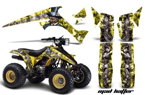 Suzuki LT 230 ATV Graphics: Mad Hatter - Yellow Quad Graphic Decal Wrap Kit