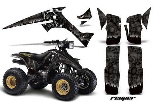 Suzuki LT 230 ATV Graphics: Reaper - Black Quad Graphic Decal Wrap Kit