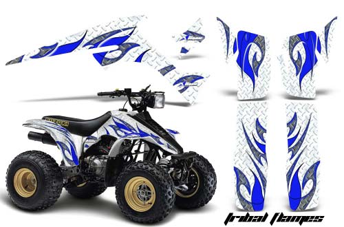 Suzuki LT 230 ATV Graphics: Tribal Flames - Blue Quad Graphic Decal Wrap Kit