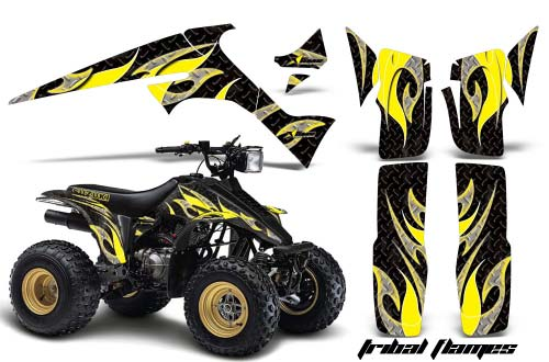 Suzuki LT 230 ATV Graphics: Tribal Flames - Yellow Quad Graphic Decal Wrap Kit