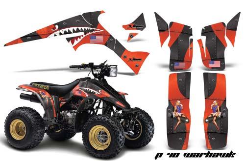 Suzuki LT 230 ATV Graphics: P 40 Warhawk - Orange Quad Graphic Decal Wrap Kit