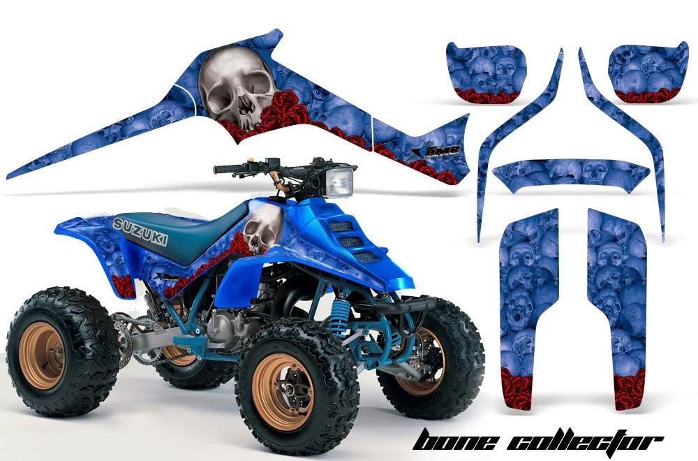 Suzuki LT 250, 250 R ATV Graphics: Bone Collector - Blue Quad Graphic Decal Wrap Kit