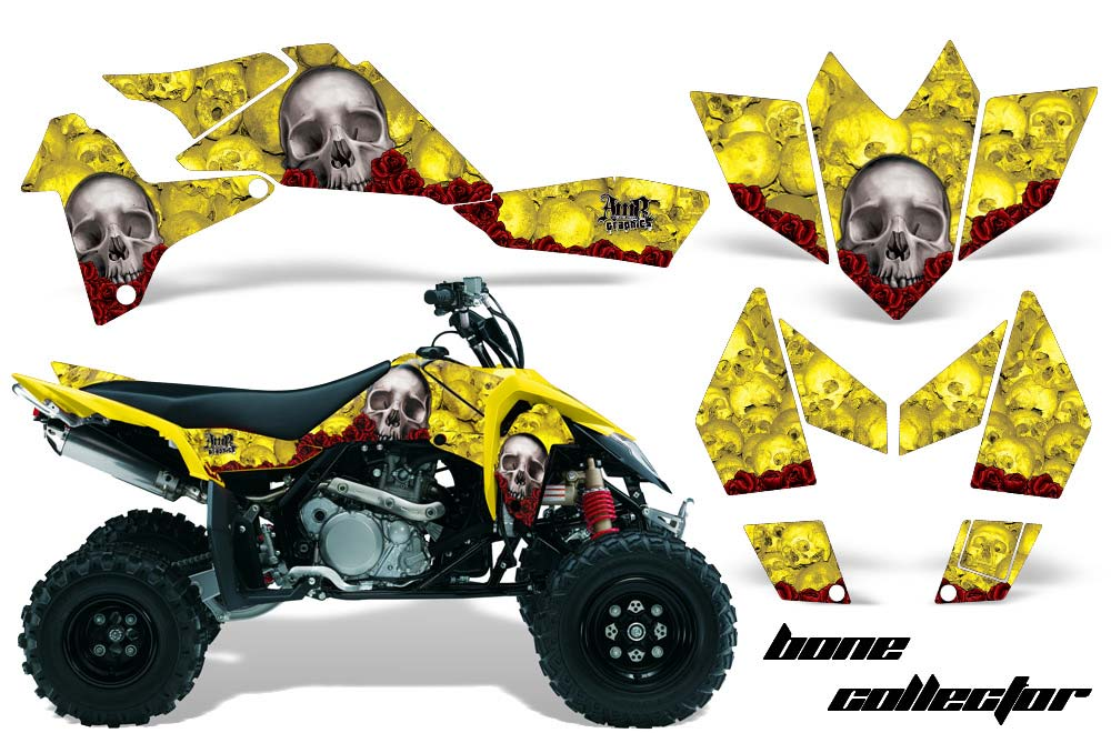 Suzuki LTR 450 ATV Graphics: Bone Collector - Yellow Quad Graphic Decal Wrap Kit