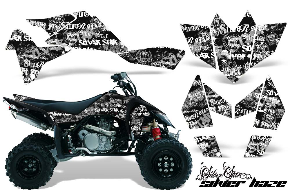 Suzuki LTR 450 ATV Graphics: Silverhaze - White Black Quad Graphic Decal Wrap Kit